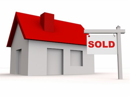 "3d rendered illustration of a simple house and a ""sold"" sign Stock Photo - Budget Royalty-Free & Subscription, Code: 400-04057893"