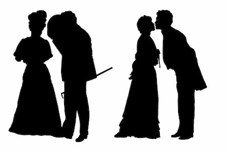 simsearch:400-04863562,k - Black silhouettes of the man and the woman in clothes of XIX century Stock Photo - Budget Royalty-Free & Subscription, Code: 400-04058630