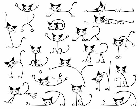 Collection of editable vector cat sketches in various positions Stock Photo - Budget Royalty-Free & Subscription, Code: 400-04051030