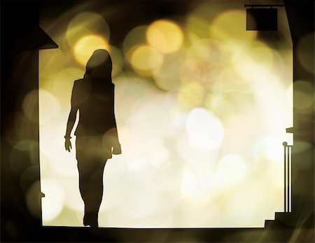 Illustration of a woman's silhouette with blurred lights behind Stock Photo - Budget Royalty-Free & Subscription, Code: 400-04052052