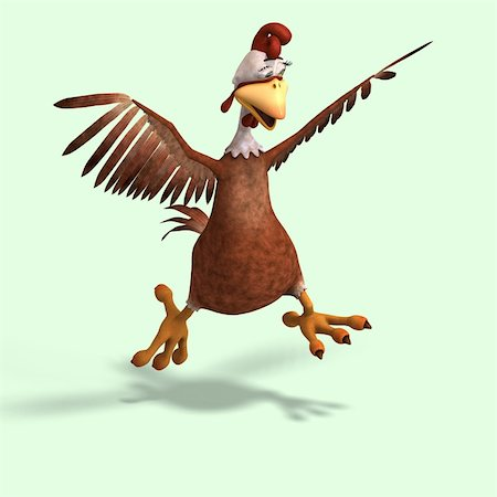 running away scared - sweet toon chicken with cute face over white Stock Photo - Budget Royalty-Free & Subscription, Code: 400-04052141