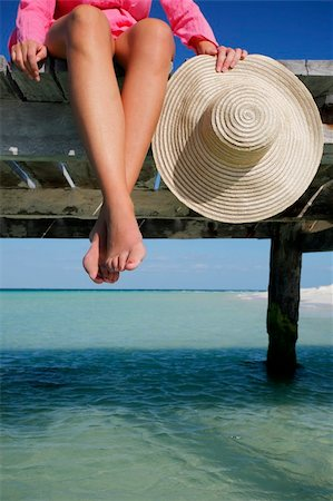 spanishalex (artist) - Womans feet and hat with jetty Stock Photo - Budget Royalty-Free & Subscription, Code: 400-04053299
