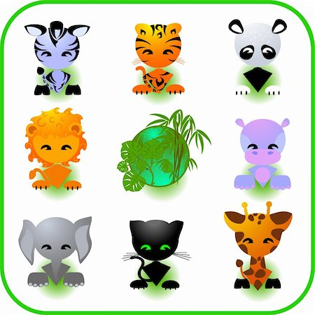 Cute Safari Animal Set Vector Illustration Stock Photo - Budget Royalty-Free & Subscription, Code: 400-04053564