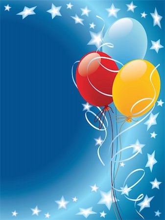 Balloons decoration with stars and wind on a blue background Stock Photo - Budget Royalty-Free & Subscription, Code: 400-04053577