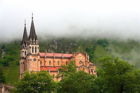 Fog at the shrine of Covadonga, Asturias (Spain) Stock Photo - Budget Royalty-Free & Subscription, Code: 400-04064801