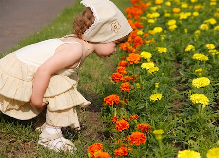 A little girl is smelling the blooming folwers. Stock Photo - Budget Royalty-Free & Subscription, Code: 400-04067084