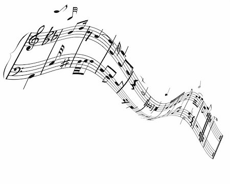swirling music sheet - Music background with different notes on the white Stock Photo - Budget Royalty-Free & Subscription, Code: 400-04069962