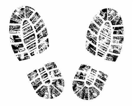 detailed black and white bootprint - vector illustration Stock Photo - Budget Royalty-Free & Subscription, Code: 400-04062075
