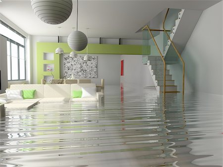 flooded homes - modern interior with stair under the water(3D) Stock Photo - Budget Royalty-Free & Subscription, Code: 400-04062698