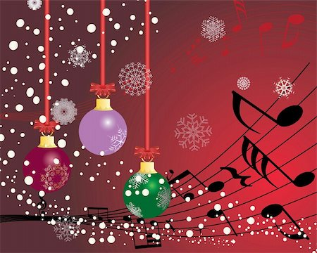 quarter note - Christmas (New Year)greeting postcard with musical staff. Vector background. Stock Photo - Budget Royalty-Free & Subscription, Code: 400-04075367