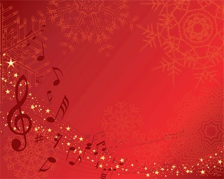 quarter note - Christmas (New Year)greeting postcard with musical staff. Vector background. Stock Photo - Budget Royalty-Free & Subscription, Code: 400-04075710