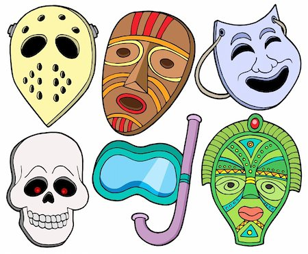 Various masks collection 1 - vector illustration. Stock Photo - Budget Royalty-Free & Subscription, Code: 400-04076626