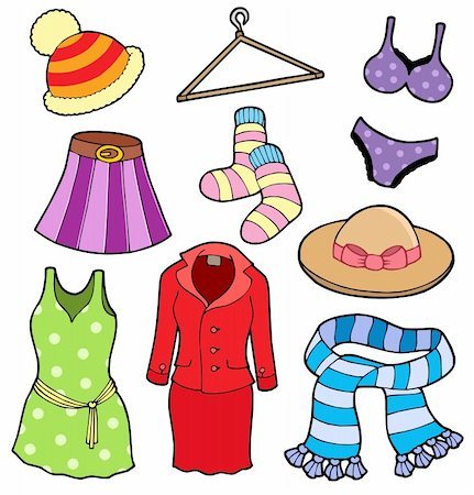 Woman clothes collection - vector illustation. Stock Photo - Budget Royalty-Free & Subscription, Code: 400-04077418