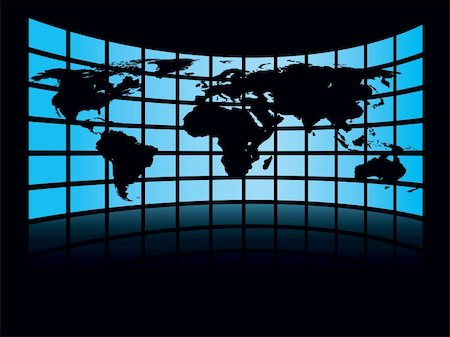World map in a large display on a dark background, conceptual business illustration. The base map is from Central Intelligence Agency Web site. Stock Photo - Budget Royalty-Free & Subscription, Code: 400-04079012