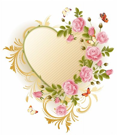 Vector illustration - Frame in the Victorian style, with roses and butterflies Stock Photo - Budget Royalty-Free & Subscription, Code: 400-04079497