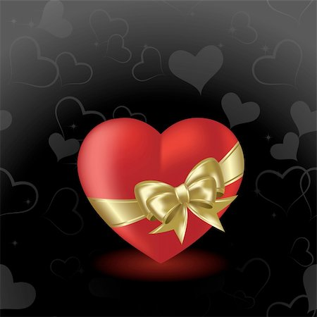 Heart  on a black background with gold bow Stock Photo - Budget Royalty-Free & Subscription, Code: 400-04079583