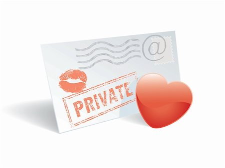 Love mail, envelope, heart and lipstick print. Stock Photo - Budget Royalty-Free & Subscription, Code: 400-04084664