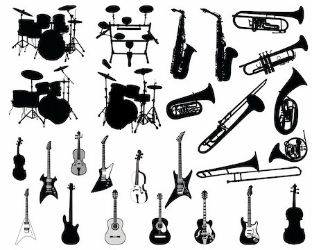 silhouette musical symbols - Set of different stringed, wind and percussion instruments Stock Photo - Budget Royalty-Free & Subscription, Code: 400-04085867