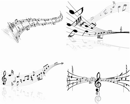 swirling music sheet - Set of four vector musical notes staff Stock Photo - Budget Royalty-Free & Subscription, Code: 400-04085869