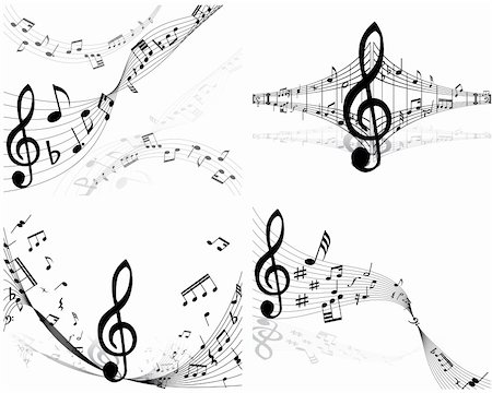 quarter note - Set of four vector musical notes staff Stock Photo - Budget Royalty-Free & Subscription, Code: 400-04085870