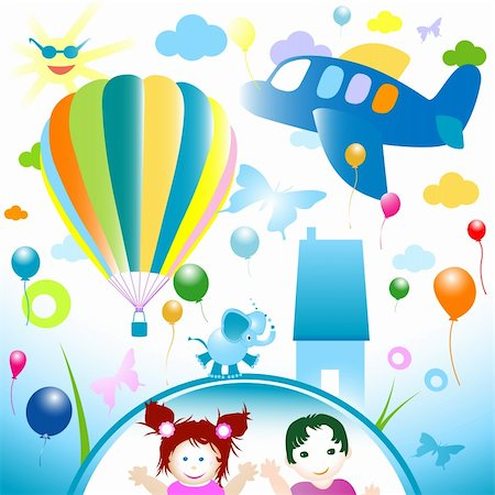 happy world, abstract design for kids Stock Photo - Budget Royalty-Free & Subscription, Code: 400-04089137