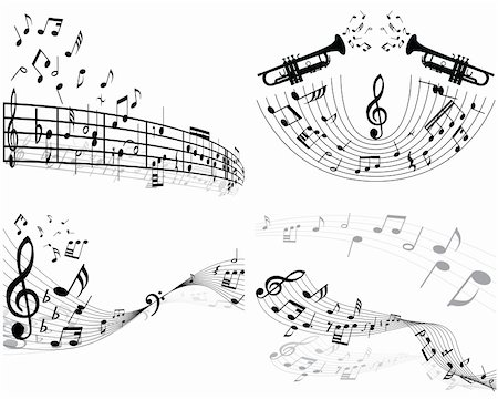 swirling music sheet - Set of four vector musical notes staff Stock Photo - Budget Royalty-Free & Subscription, Code: 400-04089740