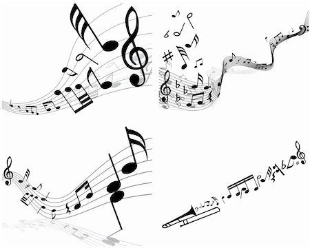 quarter note - Set of four vector musical notes staff Stock Photo - Budget Royalty-Free & Subscription, Code: 400-04089741