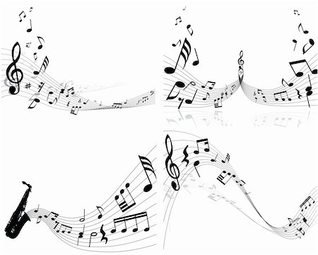 swirling music sheet - Set of four vector musical notes staff Stock Photo - Budget Royalty-Free & Subscription, Code: 400-04089742