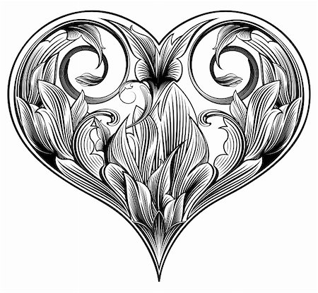 Abstract ornamental heart to valentine's day. Floral design Stock Photo - Budget Royalty-Free & Subscription, Code: 400-04080595