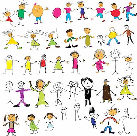 Collection of child like vector colour drawings Stock Photo - Budget Royalty-Free & Subscription, Code: 400-04080806