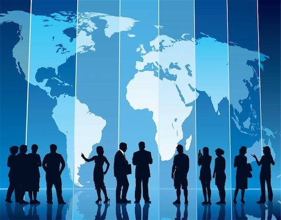 People are standing in front of a large map, conceptual business illustration. The base map is from Central Intelligence Agency Web site. Stock Photo - Royalty-Free, Artist: Kamaga, Image code: 400-04082063