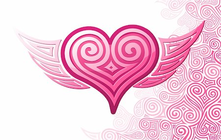 flying hearts clip art - Pink heart with wings and pattern. Vector illustration Stock Photo - Budget Royalty-Free & Subscription, Code: 400-04083027