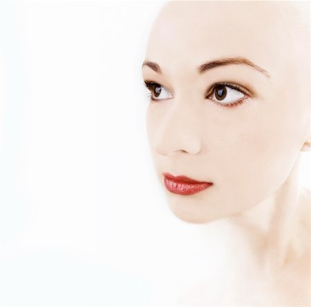 skinhead - girl with porcelain skin and red lips Stock Photo - Budget Royalty-Free & Subscription, Code: 400-04094668