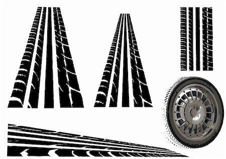 pokerman (artist) - Car tyre and  Trye Tracks (Main Vector tesalates so you can create your own roads) Stock Photo - Budget Royalty-Free & Subscription, Code: 400-04095444