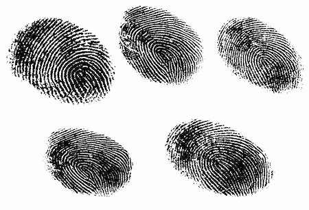 pokerman (artist) - 5 Black and White Vector Fingerprints - Very accurately scanned and traced ( Vector is transparent so it can be overlaid on other images, vectors etc.) Stock Photo - Budget Royalty-Free & Subscription, Code: 400-04096692