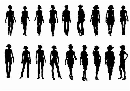 simsearch:400-04096935,k - vector drawing silhouettes on a white background on the topic of fashion. file saved in Illustrator 8 format eps Stock Photo - Budget Royalty-Free & Subscription, Code: 400-04096935