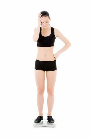 picture of unhappy woman on scales over white Stock Photo - Budget Royalty-Free & Subscription, Code: 400-04097469