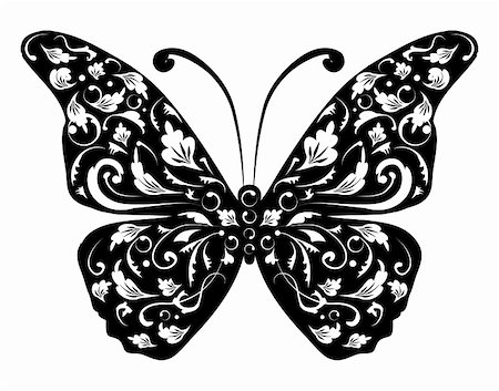 Butterfly silhouette for your design Stock Photo - Budget Royalty-Free & Subscription, Code: 400-04098092