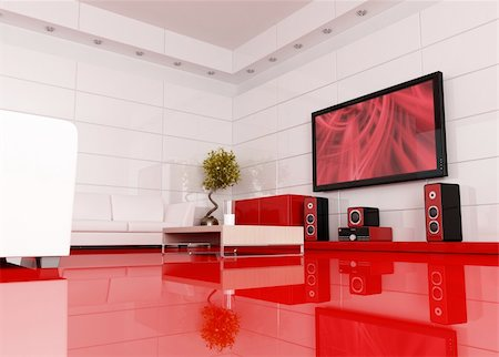 red and white living room with home theater , the image on tv screen is a my image - rendering Stock Photo - Budget Royalty-Free & Subscription, Code: 400-04098343
