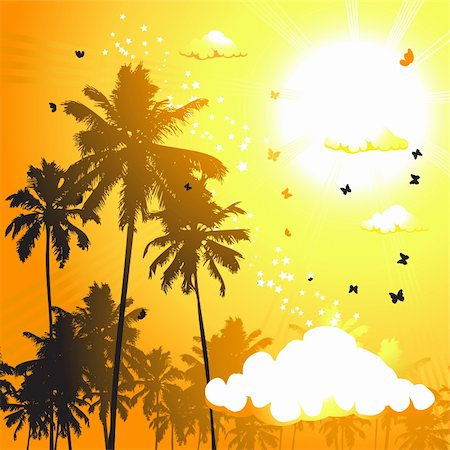 Tropical sunset, palm trees Stock Photo - Budget Royalty-Free & Subscription, Code: 400-04098933