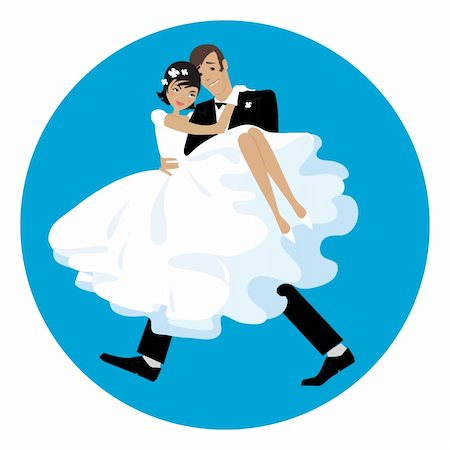 A vector illustration of a newlywed couple Stock Photo - Budget Royalty-Free & Subscription, Code: 400-04090019
