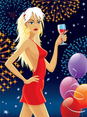 Blond hair girl in a red dress celebrating. Stock Photo - Budget Royalty-Free & Subscription, Code: 400-04090459