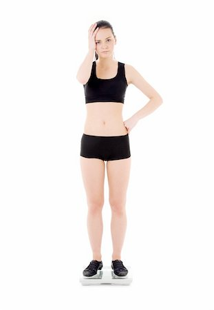picture of unhappy woman on scales over white Stock Photo - Budget Royalty-Free & Subscription, Code: 400-04092273
