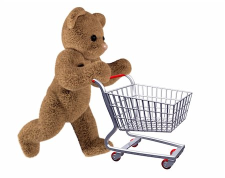 empty shopping cart - Isolated illustration of teddy pushing a shopping cart Stock Photo - Budget Royalty-Free & Subscription, Code: 400-04092328