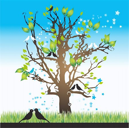Tree silhouette spring, birds, vector illustration Stock Photo - Budget Royalty-Free & Subscription, Code: 400-04105476