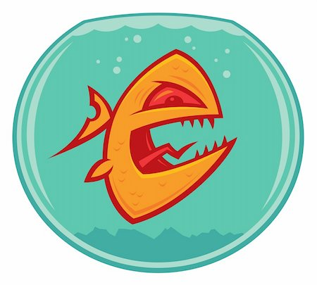 piranha fish - Vector cartoon of an angry and vicious goldfish in a small fishbowl. He could also be a piranha. Stock Photo - Budget Royalty-Free & Subscription, Code: 400-04108264