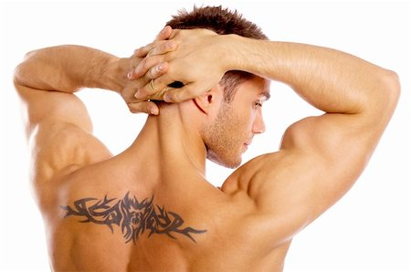 Muscular and tanned male with tatoo isolated on white Stock Photo - Budget Royalty-Free & Subscription, Code: 400-04108937