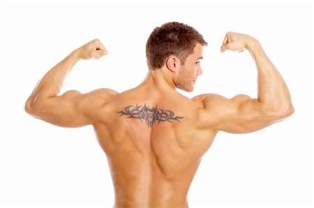 Muscular and tanned male with tatoo isolated on white Stock Photo - Budget Royalty-Free & Subscription, Code: 400-04108938