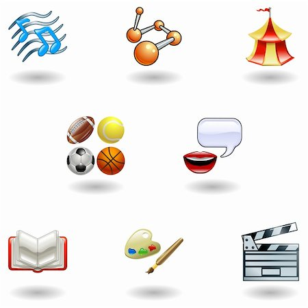a subject or category icon set eg. science, language, literature, history, music, physical education etc Stock Photo - Budget Royalty-Free & Subscription, Code: 400-04101294
