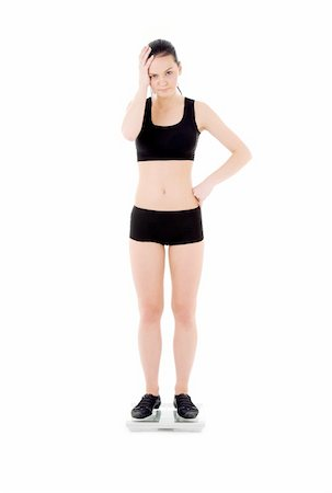 picture of unhappy woman on scales over white Stock Photo - Budget Royalty-Free & Subscription, Code: 400-04102881